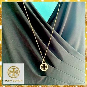 """❤️31""""Classic Gold Ball Necklace w Tory Burch Charm"""